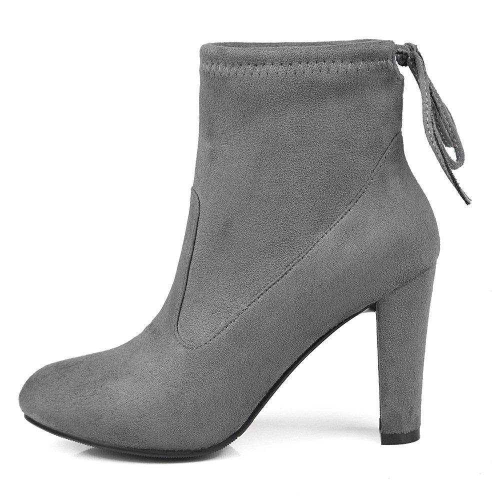 - DYF Chaussures femmes Bottes courtes Martin Bride rugueux de couleur solide,gris foncé,34