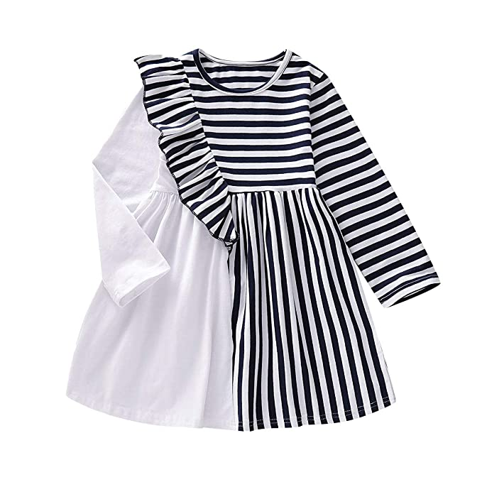 Bonny Boom Designed Girls Dress with Black White Stripes Long Sleeves Cotton GD0012