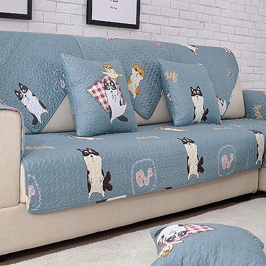 ABUKJM Fundas De Sofa Anti Gatos Arañazos,Funda de sofá de algodón para Todas Las Estaciones partículas Antideslizantes Sala de Estar hogar @ Cute Dog_90 * 240cm(1PCS): Amazon.es: Hogar