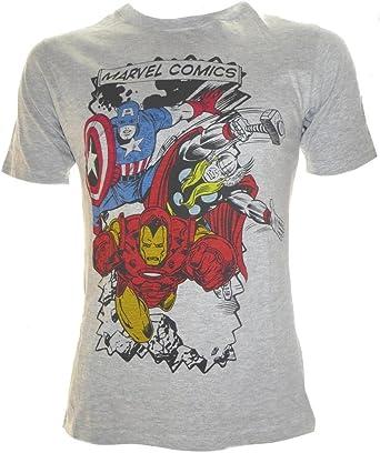 Marvel Comics - Camiseta - Manga Corta - para Hombre Gris Gris XX-Large: Amazon.es: Ropa y accesorios