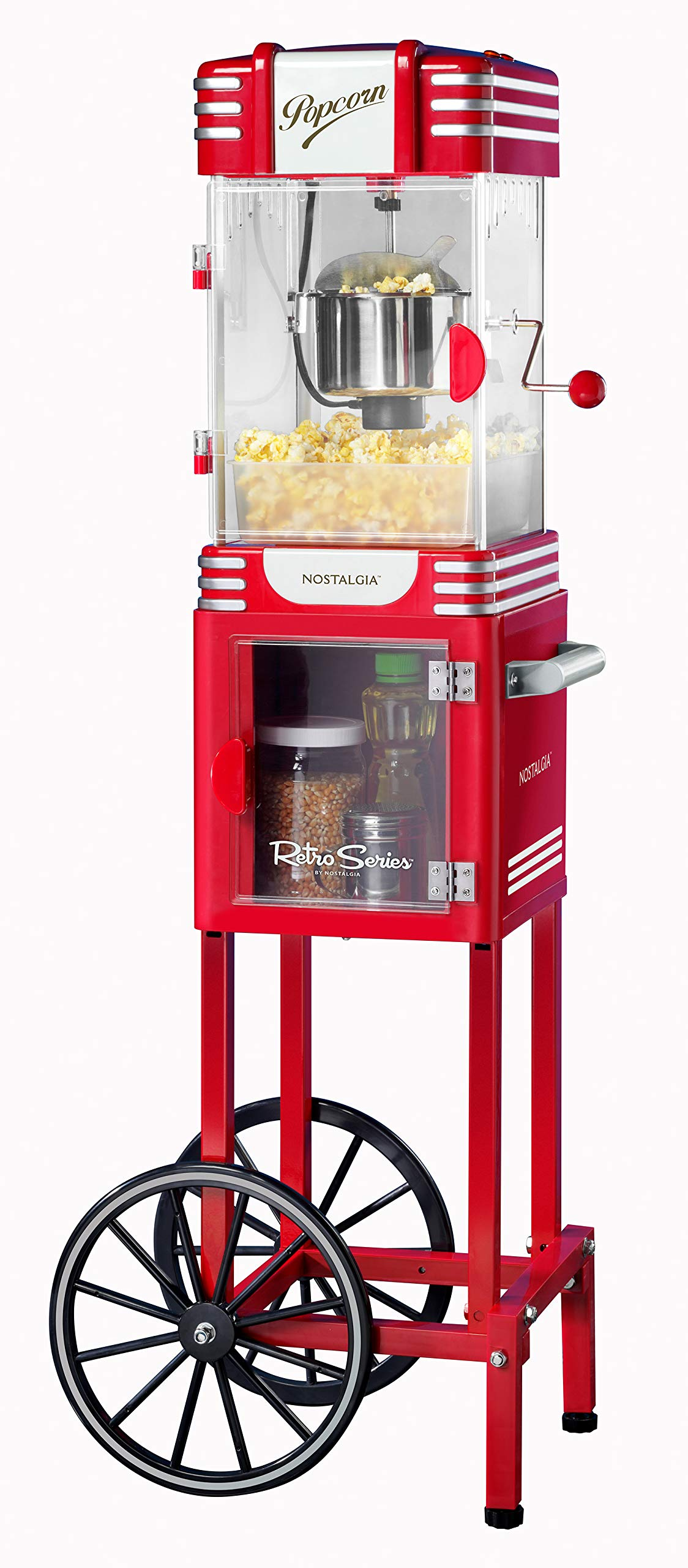 Nostalgia PC530CTRR 2.5 oz Retro Popcorn & Concession Cart, 45'' Tall, Makes 10 Cups, with Kernel & Oil Measuring Spoons & Scoop, 11'' Wheels for Easy Mobility by Nostalgia