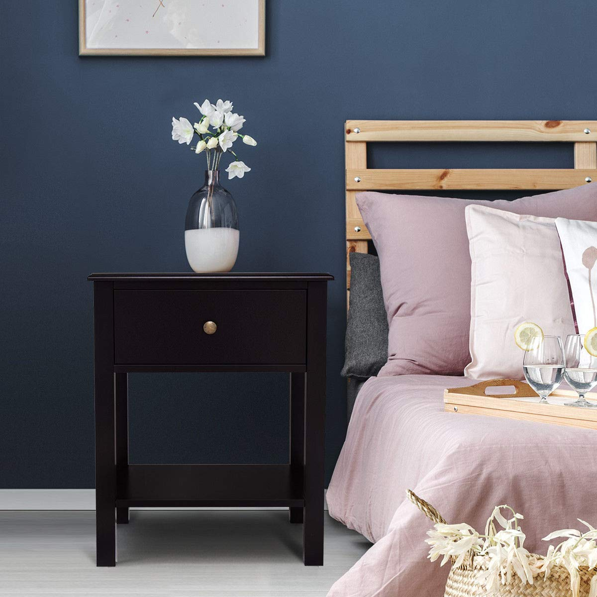 Giantex Nightstand W Drawer and Shelf, Stable Frame Storage Cabinet for Bedroom, Modern Beside Sofa Accent Table, Brown End Table 2