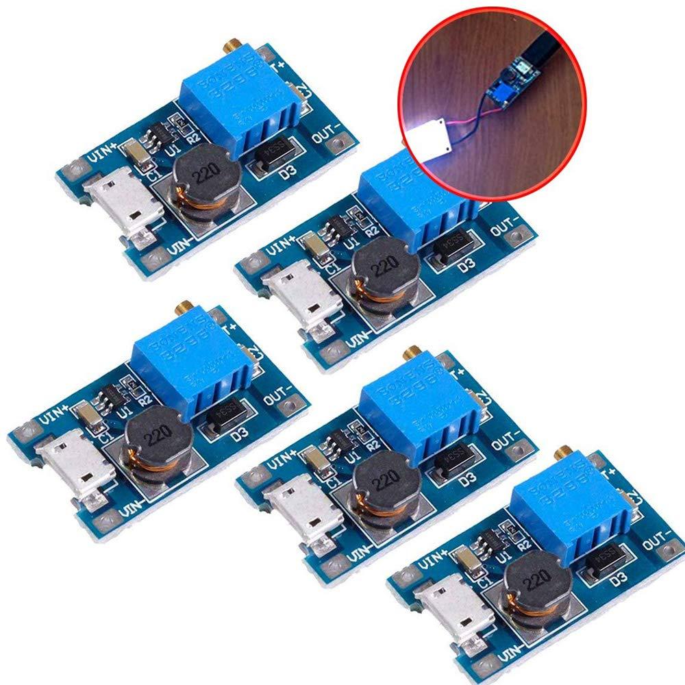 iHaospace MT3608 5 Pcs DC-DC Boost Converter Step-up Voltage Regulator Voltage Stabilizer Adjustable Power Supply DC 2-24V To 5V 9V 12V 28V 2A With Micro USB Input