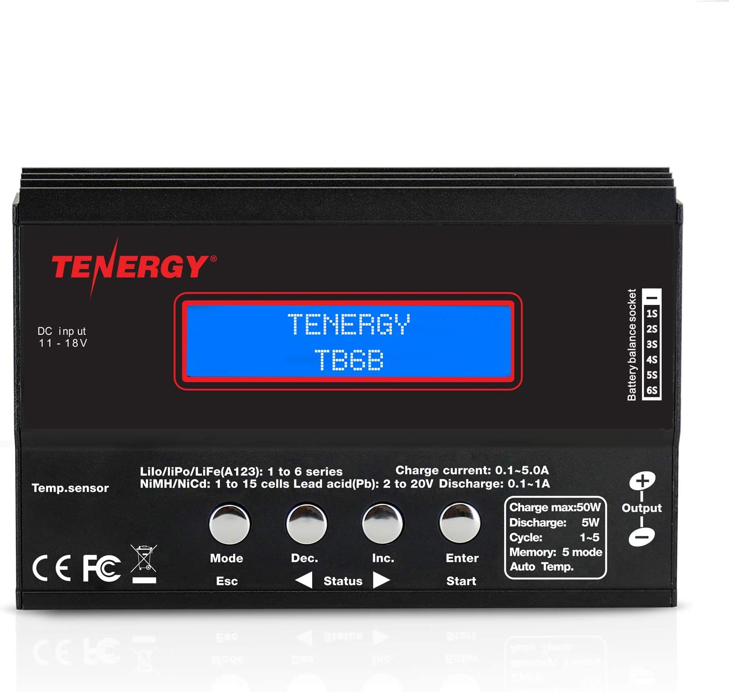 Tenergy TB6-B Balance Charger Discharger 1S-6S Digital Battery Pack Charger for NiMH/NiCD/Li-PO/Li-Fe Packs LCD Hobby Battery Charger w/ Tamiya/JST/EC3/HiTec/Deans Connectors + Power Supply 01435: Toys & Games