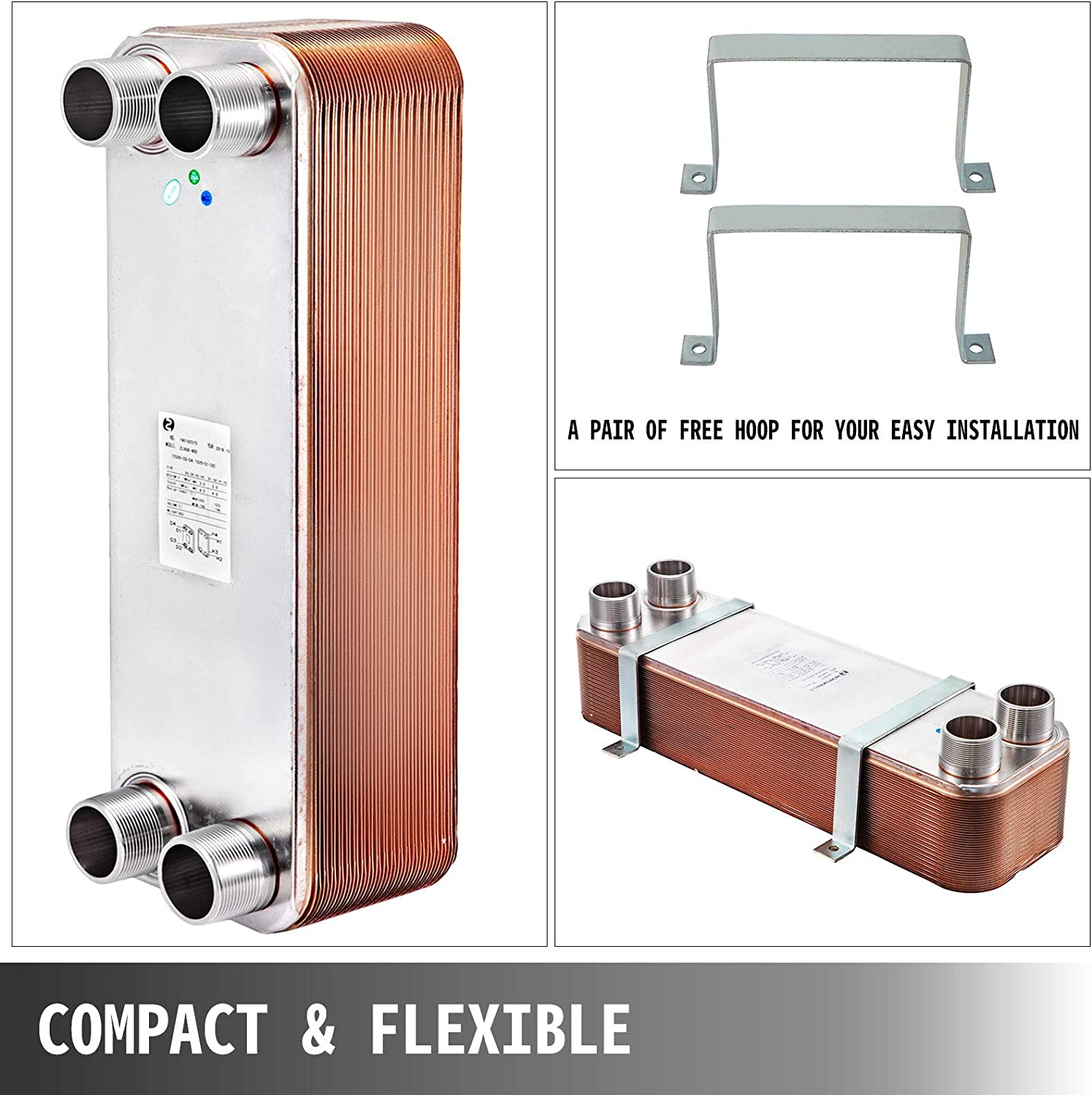 BestEquip Heat Exchanger 3x7.5 12 Plates Brazed Plate Heat Exchanger 316L 3//4 MPT Heat Exchanger 4.5 Mpa Beer Wort Chiller for Hydronic Heating