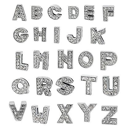 amazon com a z letter slide charm nickel free alloy rhinestone