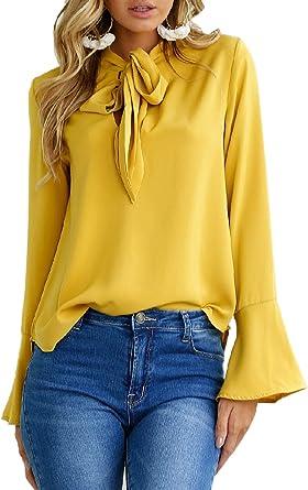 Mujer Camisas Manga Larga Casual Blusas Modernas con Lazo con Tops Elegantes Hipster Hermoso Color Sólido Anchas Casual Oficina Camisa Shirt Primavera Otoño: Amazon.es: Ropa y accesorios