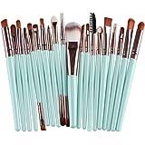 CINIDY 20 pcs Makeup Brush Set tools Make-up Toiletry Kit Wool Make Up Brush Set (Silver)