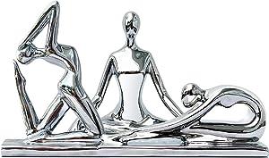 Yoga Statues for Home Studio - Modern Set of 3 Silver Yoga Figurines - Nameste Decor - Approx 6