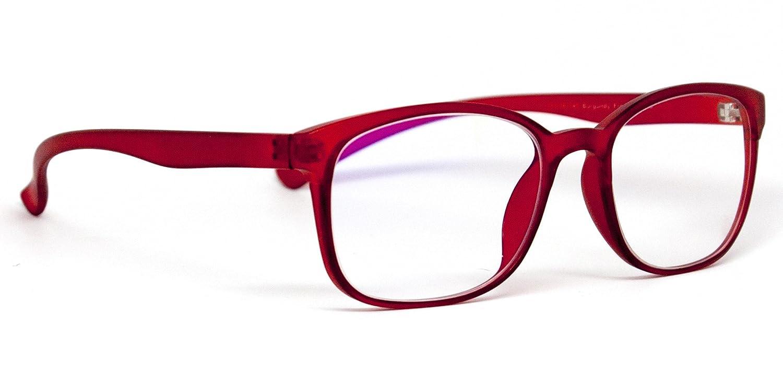Amazon.com: Computer Glasses by Phonetic Eyewear Bravo (Burgundy Red ...