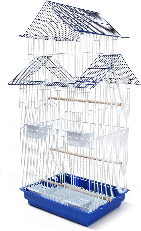 BPS Jaula Grande para Pájaro Pajarera Periquito Canarios con Saltado Perchas para Descanso Comedero 46.5 x 36 x 103 cm Color al Azar (Modelo 1) BPS-1241