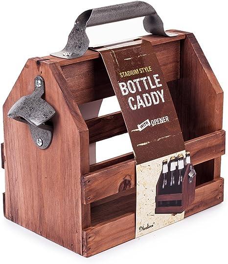 Wooden Bottle Caddy, 6-Pack Beer Carrier