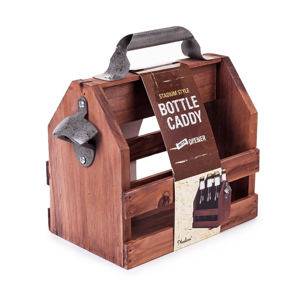 Mealivos Wooden Bottle Caddy, 6-Pack Beer Carrier with Built-In Metal Bottle Opener by Mealivos