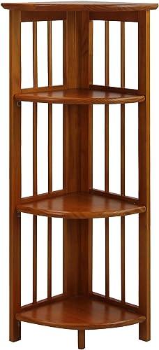 Oak Brown 4 Tiers Corner Bookshelf