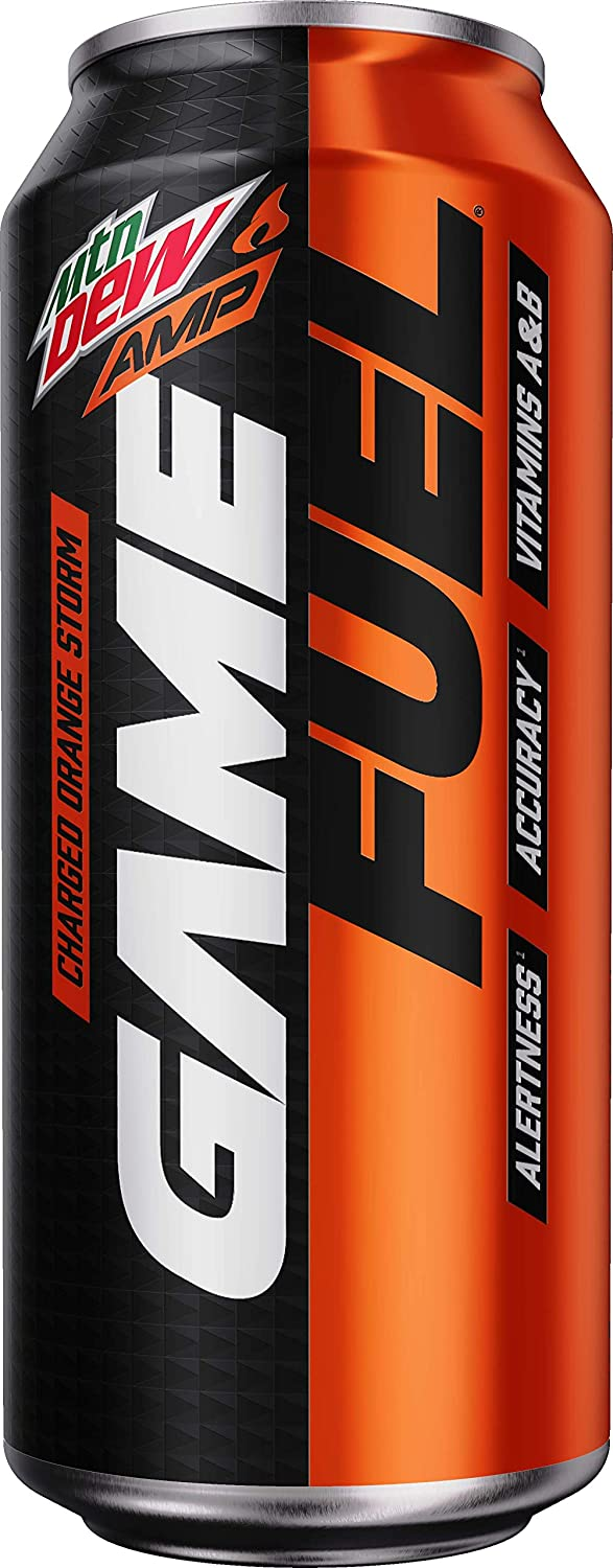 Mountain Dew Game Fuel, Charged Orange Storm, 16 Fl Oz. Cans (12 Pack) (Packaging May Vary)