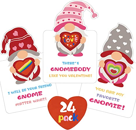 Valentines Day Cards for Kids - Gnomes Heart Erasers Valentine Card 24 Pack - Valentine's Day Exchange Cards for Girls Boys School Classroom Gifts Party Favors
