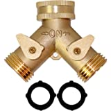 Hourleey Brass Garden Hose Splitter (2 Way), Solid Brass Hose Y Splitter 2 Valves with 2 Extra Rubber Washers