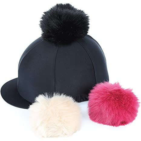 a4b6d8b0713 Shires Switch It Pom Pom Hat Cover  Black  Amazon.co.uk  Sports ...