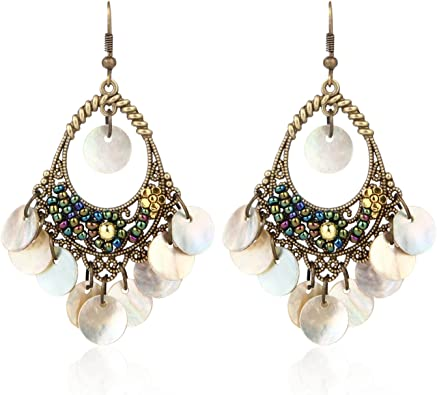 BaubleStar Bohemian Chandelier Dangle Earrings with Disc Charms Drop Lightweight Filigree for Women Girls