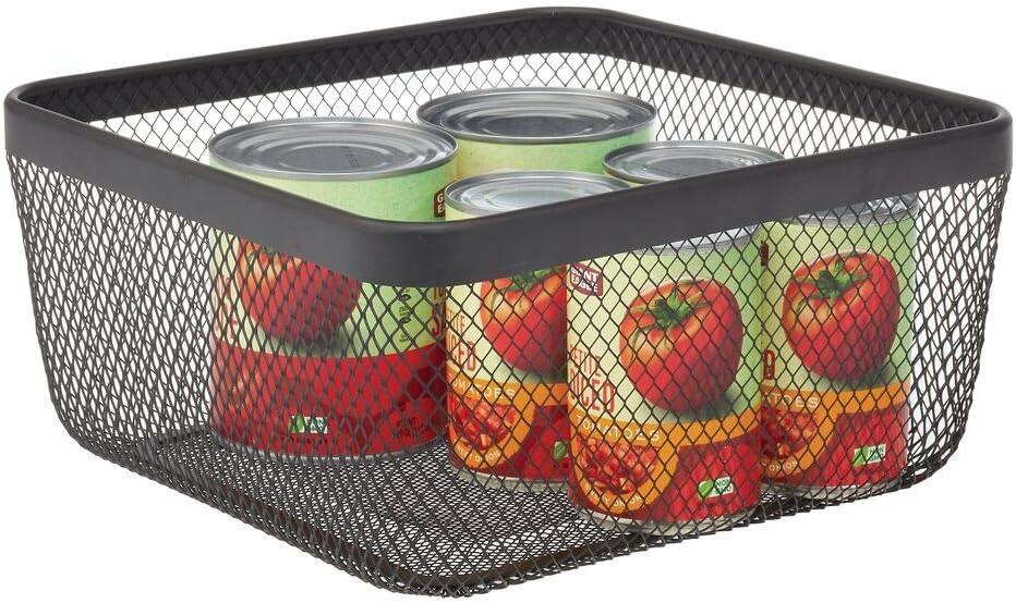 mDesign Farmhouse Decor Metal Wire Food Organizer Storage Bin Basket for Kitchen Cabinets, Pantry, Bathroom, Laundry Room, Closets, Garage - Black