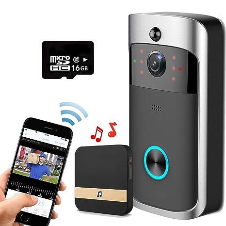 Smart Video Timbre Wireless Home WIFI Cámara De Seguridad Con Carillón Interior, Tarjeta SD 16G, ...