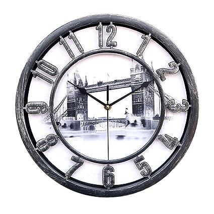 Nclon Silencioso sin Ruidos Reloj de Pared,Grandes Redondo Hueco Rústico Retro Silencioso No-