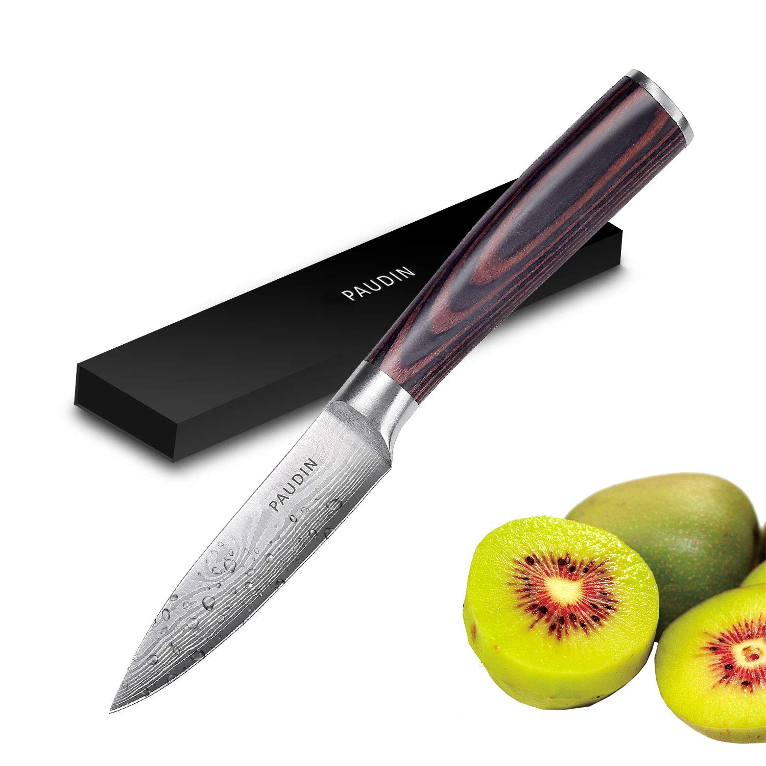 Paring Knife - PAUDIN 3.5 Inch Kitchen Knife N8 German High Carbon Stainless Steel Knife, Fruit and Vegetable Cutting Chopping Carving Knives by PAUDIN (Image #1)