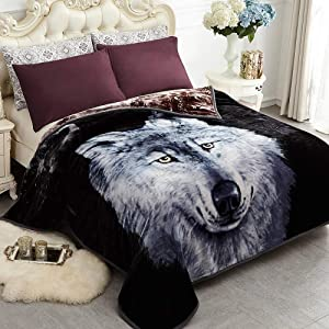 JYK Heavy Korean Mink Fleece Blanket – 2 Ply Reversible 520GSM Silky Soft Plush Warm Blanket for Autumn Winter (Queen, Dark Wolf/Wolf)