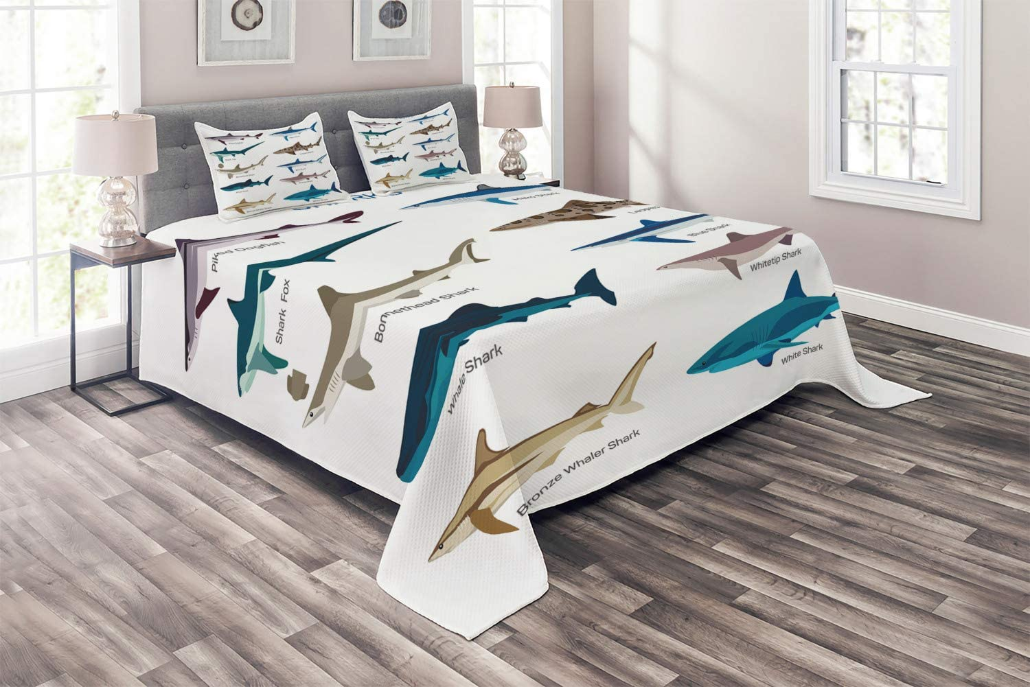 Ambesonne Shark Coverlet, Types of Sharks Pattern Whaler Piked Dogfish Whlae Shark Maritime Design Nautical, 3 Piece Decorative Quilted Bedspread Set with 2 Pillow Shams, Queen Size, Blue Tan