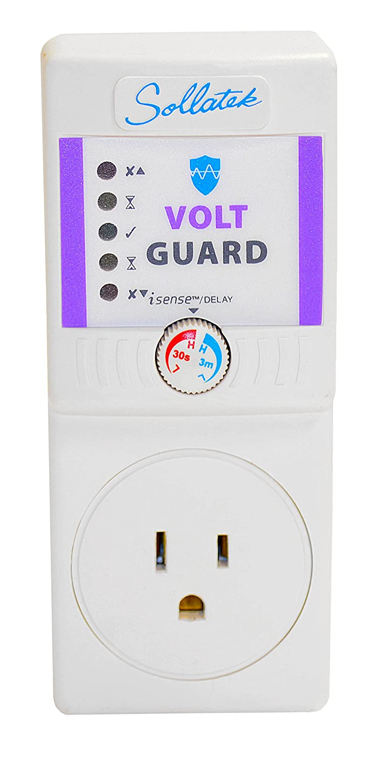Sollatek VoltGuard iSense (High & Low Voltage Protector - US Socket) 7A with iSense 110/115V - Protection Ideal for TV, Electronic Equipment,Computers, fridges.