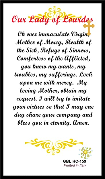HC9-011E Our Lady of Lourdes Laminated Prayer Cards Pack of 25