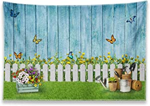 Allenjoy 8x6ft Easter Photography Backdrop Spring Garden Floral Flower Butterfly Fence Grass Blue Wooden Wall Background Birthday Baby Shower Party Decor Supplies Kids Portrait Photo Booth Studio Prop