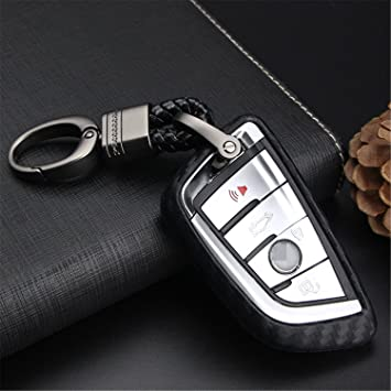 ontto Key Fob Cover Carbon Fiber Texture Car Key Shell Silicone case with Keychain Remote Key Protector Fit for BMW 1 3 5 7 Series X3 X4 X5 X6 Red