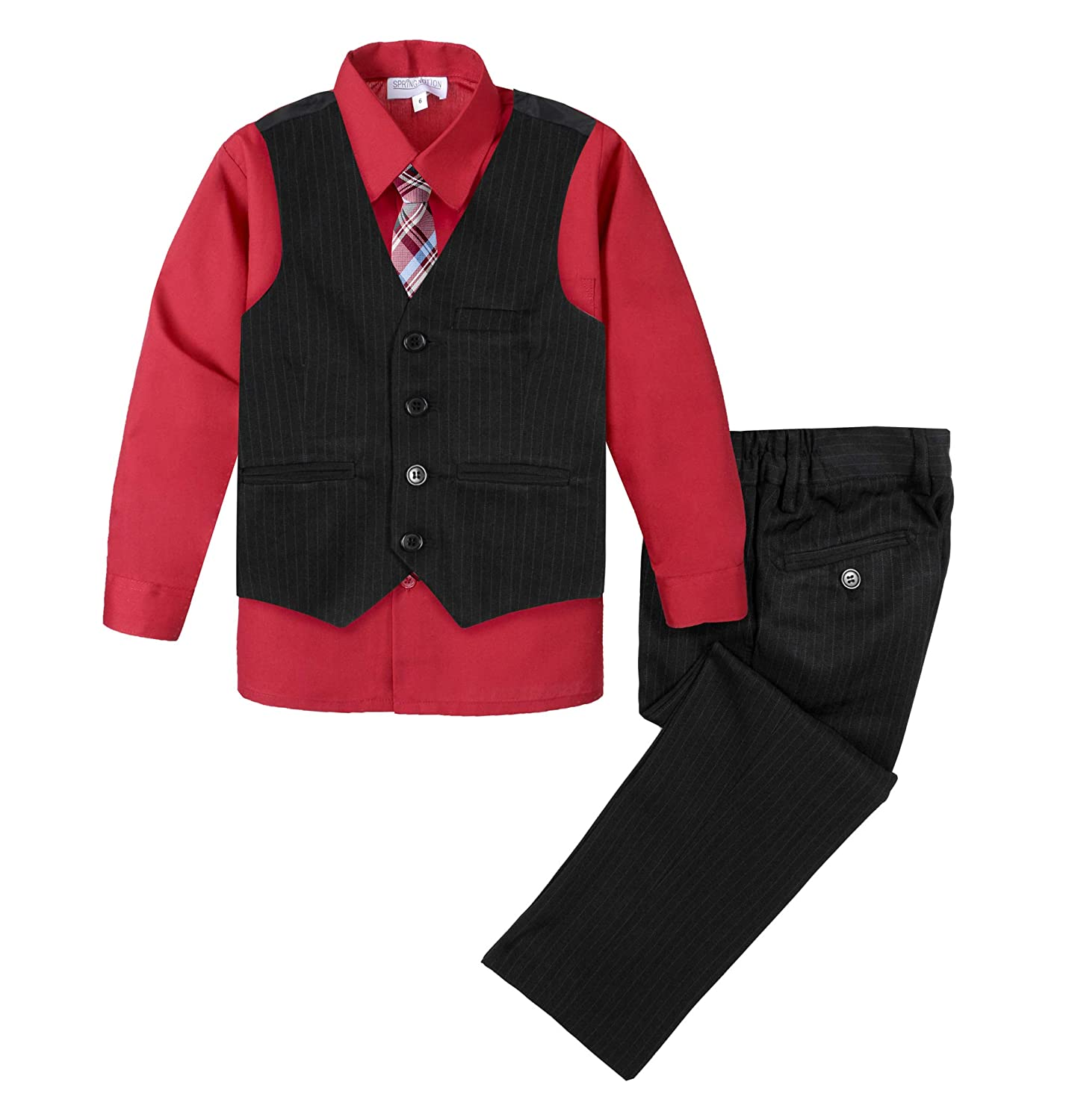 Spring Notion Big Boys 4-Piece Pinstripe Vest Set Black