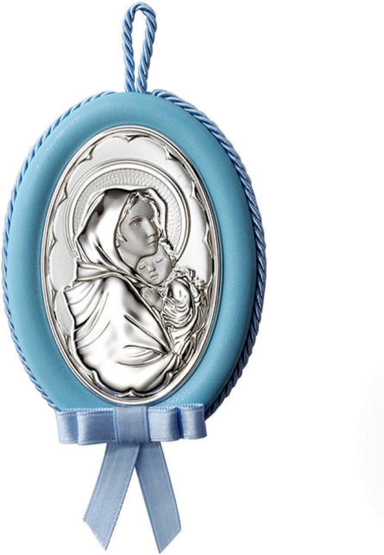 Medalla musical de cuna /ó cochecito de Virgen con ni/ño en Plata bilaminada azul /ó blanco disponible en colores Rosa a su elecci/ón.