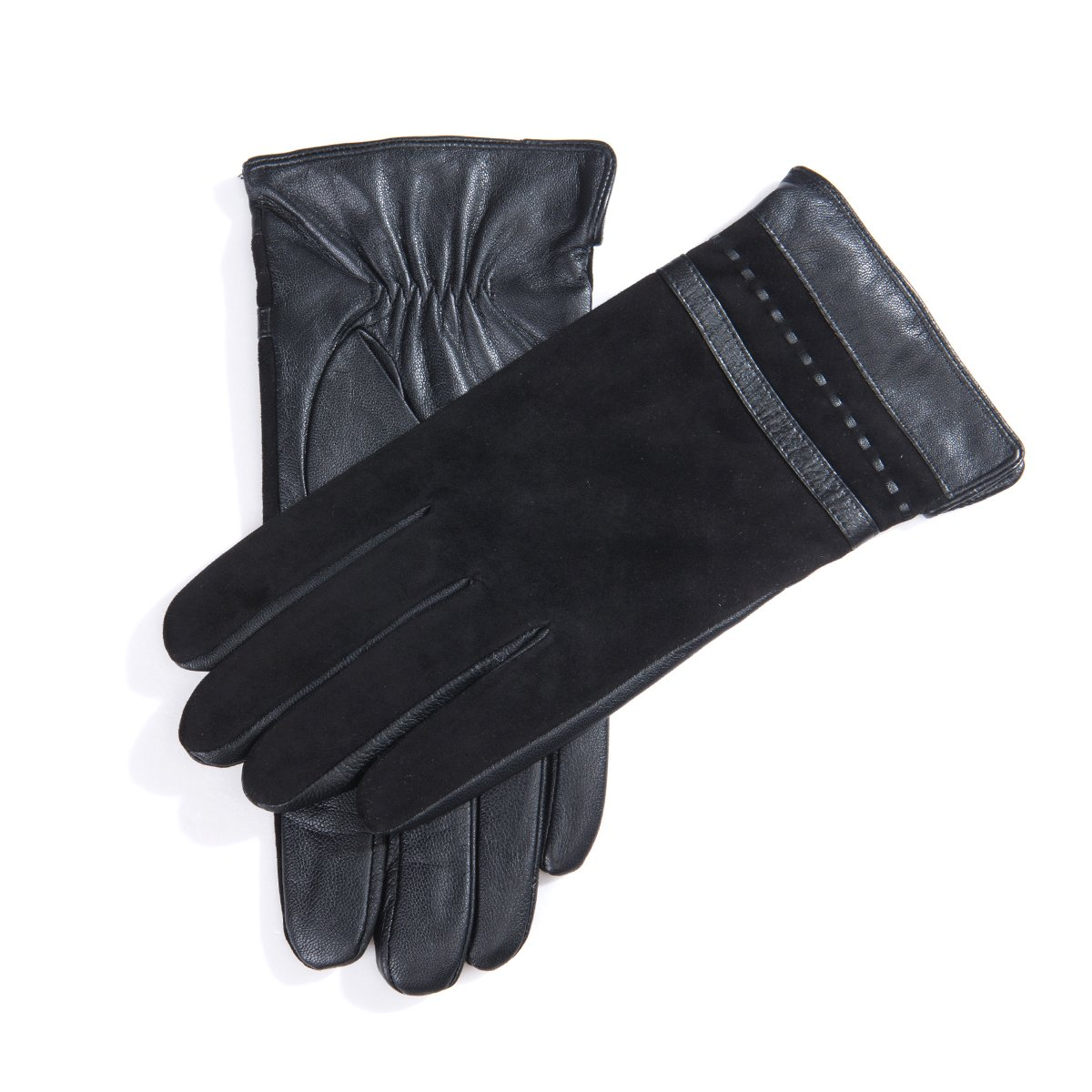 MATSU Business Men Winter Warm Leather and Sheep Suede with Zip Gloves M1082 (M, Black-Long Fleece)