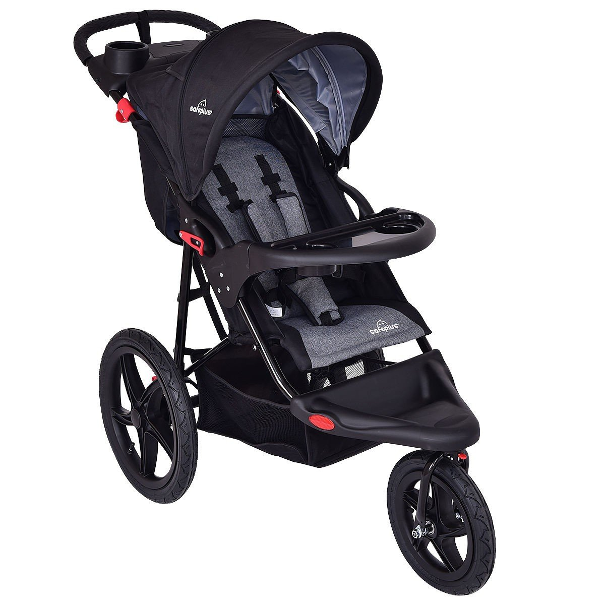 Baby Stroller Jogger LIGHTWEIGHT (22 lbs) Foldable, Umbrella Cover, For Infants, Toddlers And Kids, Black Color