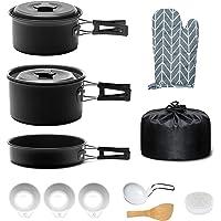 Keymao Utensilios Cocina Camping,Camping Kit de Portátil y Liviano Acero Inoxidable Ollas y Sartenes para Acampada…