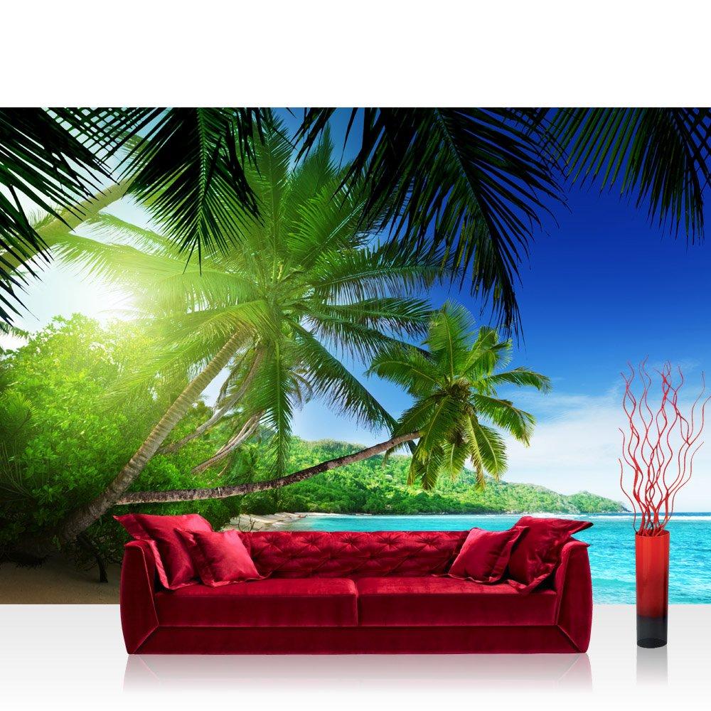 Vlies Fototapete 350x245 cm PREMIUM PLUS Wand Foto Tapete Wand Bild Vliestapete - PARADISE BEACH - Strand Meer Palmen Beach 3D Ozean Palme - no. 005