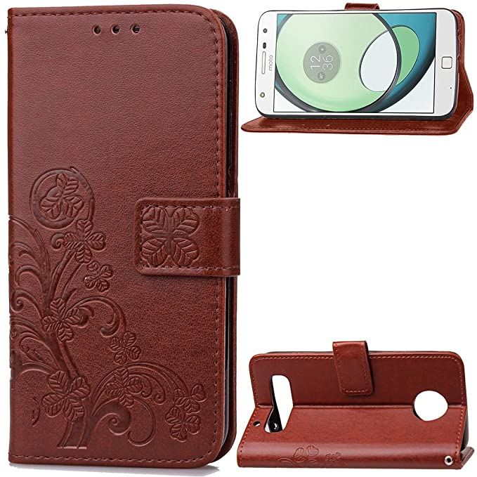 Carcasa para Funda Motorola Moto Z Play Carcasa, Cartera Flip Funda Caja de Cuero de la PU Carcasa con Tapa Flip Case TPU Funda (Brown). RF06