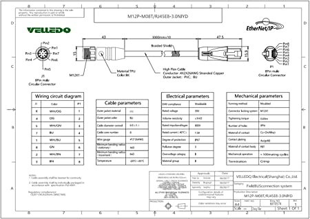 amazon com velledq m12 sensor connector 8 pin receptacle to rj45 rh amazon com