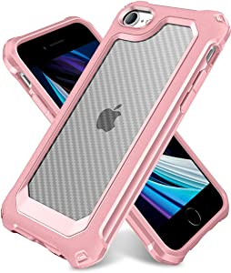 iPhone 6S Case, iPhone 6 Case with [ Screen Protector Tempered Glass x2Pack]SUPBEC Protective Phone Cover with Silicone PC+TPU Shockproof Rubber Heavy Duty Case for iPhone6 / iPhone6S-Clear Rose Gold