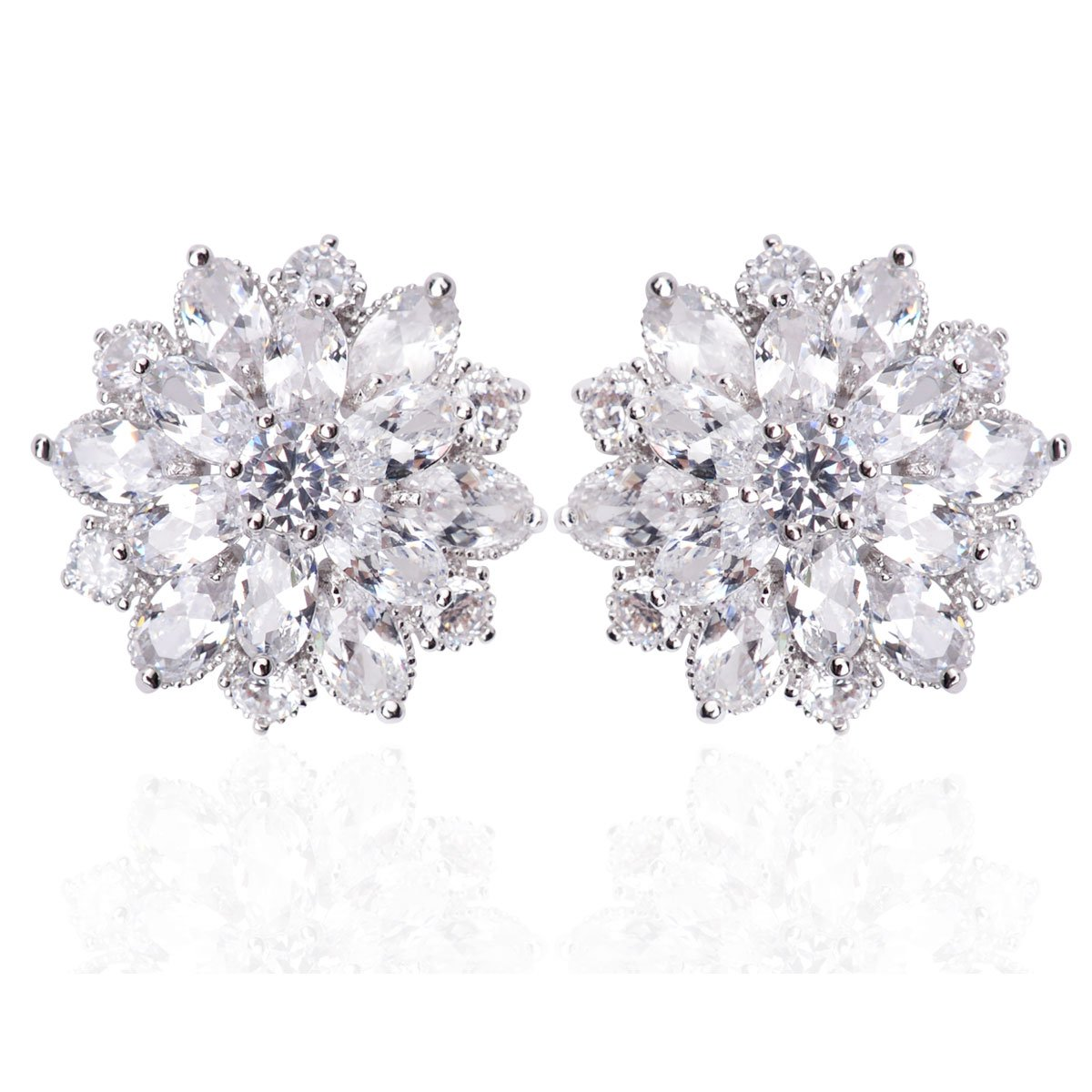 Qise Luxury Bridal Flower Cluster Crystal and antiallergic alloy Stud Earrings (White Stud Earring)