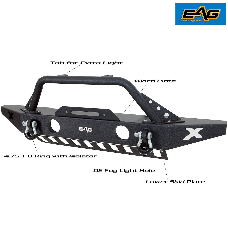 E-Autogrilles Black 07-16 Jeep Wrangler JK Rock Crawler Front Bumper with OE Fog Light Hole /& Winch Plate 51-0309