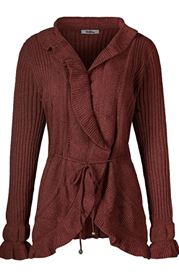 37c6491d24 2LUV Women s Knit Ruffle Open Front Sweater Cardigan With Waist Draw Brown  L at Amazon Women s Clothing store