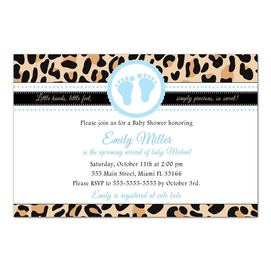 30 Invitations Boy Baby Shower Leopard Animal Print Blue Personalized Photo Paper