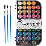 48 Colors Watercolor Paint Set, Shuttle Art Watercolor Pan Set with 3 Paint Brushes Easy to Blend Colors, Non-Toxic…