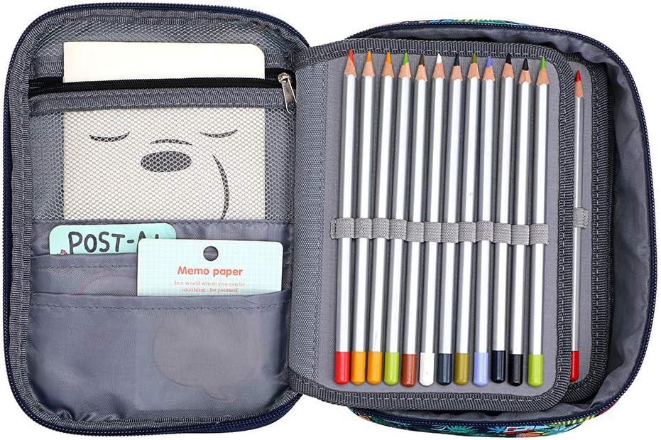 Sumnacon Multifonction 72 Toile Trousse de Crayon Scolaire 3 Couches D/émontables avec une Lani/ère et Grande Capacit/é for/êt