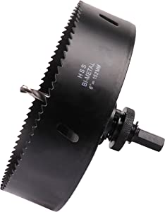Hole Saw Blade with Heavy Duty Arbor for Cornhole Boards, Plywood, Iron board, Acrylic, Ducts, Ceiling lights, Cinder wall, High Speed Steel Black 6 inch 152mm