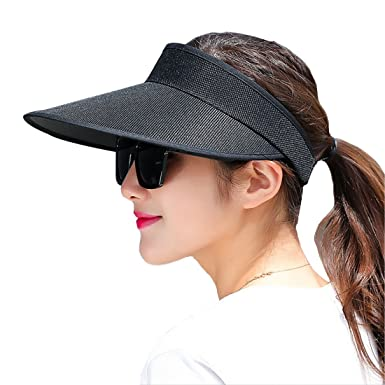 a0487c11 Lerben® Fashion Women's Summer Travel Wide Brim Visor Plain Hats Cap Beach  Sun Hats Black
